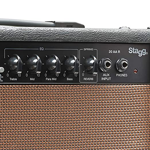 Stagg Stagg - Amplificador para guitarra acústica (20W, 3-Band EQ), color marrón: Amazon.es: Instrumentos musicales