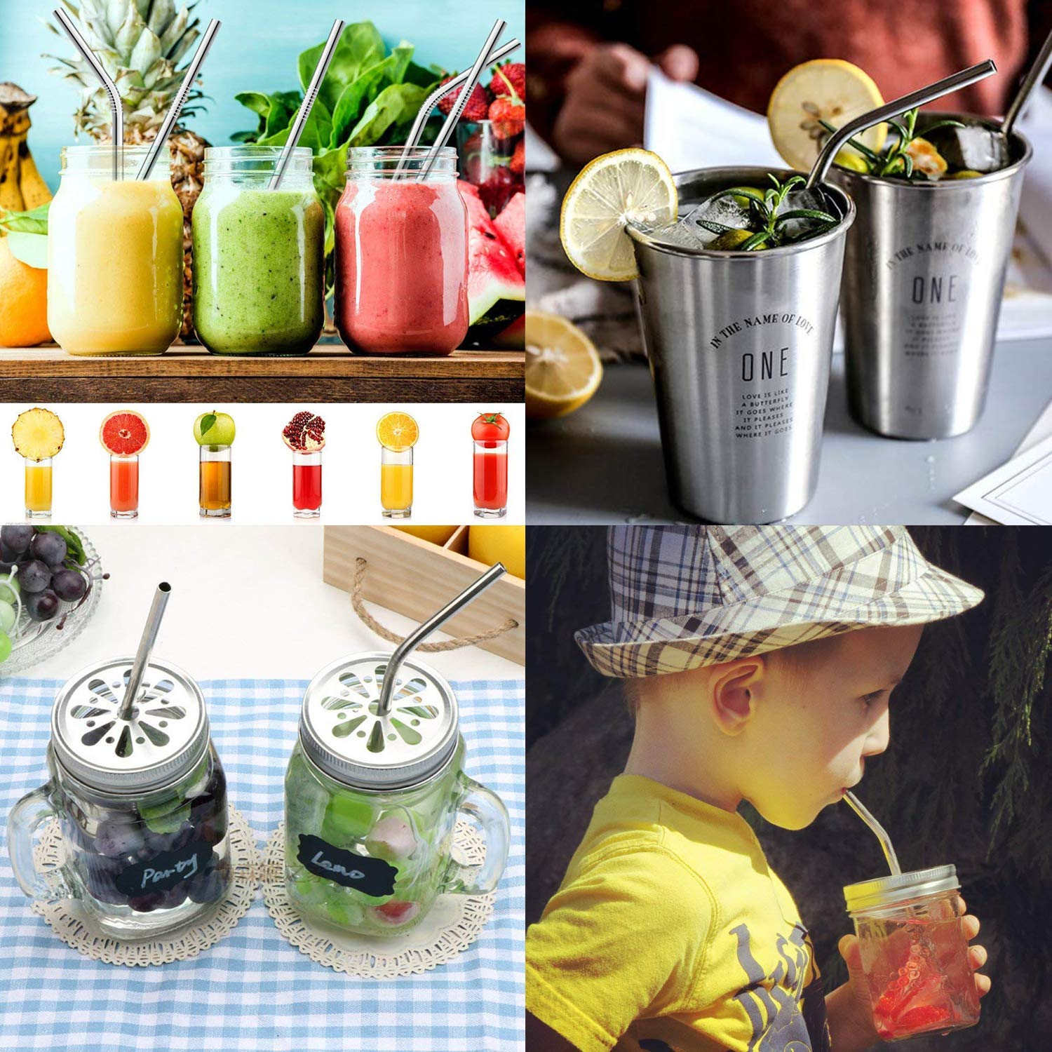 5 Straight+5 Bent+3 Brushes+10 Soft Silicone Tips+1carry bag) MultiColor Stainless Steel Straws Set of 13 10.5 8.5 Reusable Straws Metal Straws for 30//20oz Tumbler FDA-Approved Drinking Straws