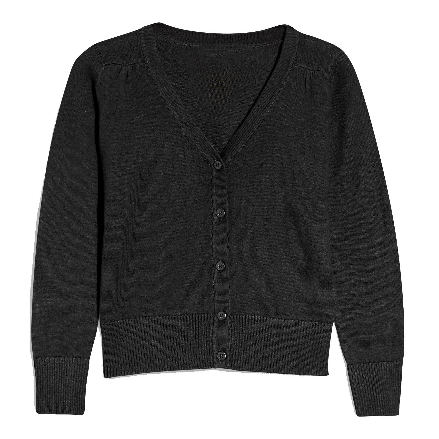 Hollywood Star Fashion Khanomak Kids Girls V Neck Cardigan Sweater (Size 9/10, Black)