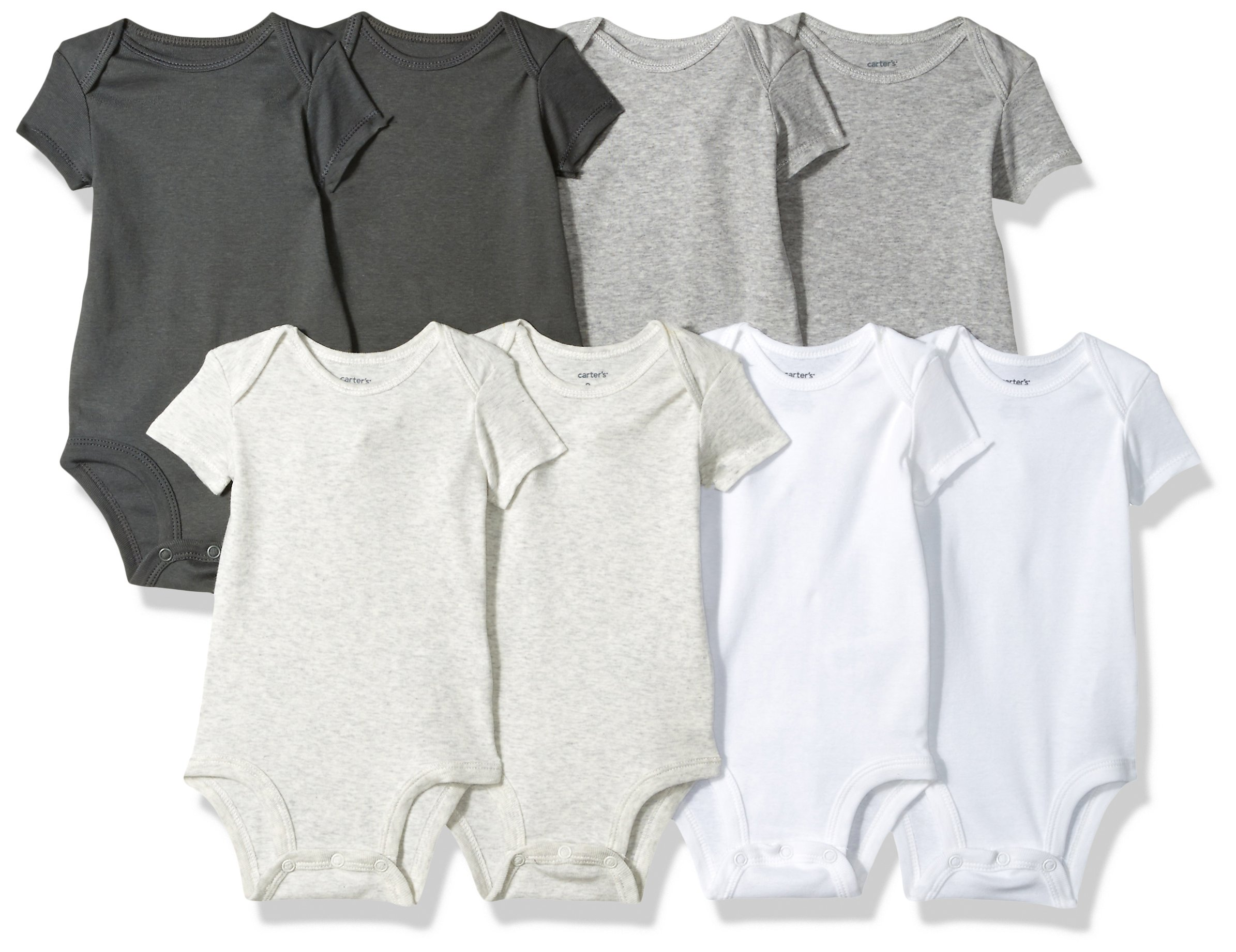 Carter's Baby 8 Pack Short-Sleeve Bodysuits, Multi Oatmeal, 3 Months