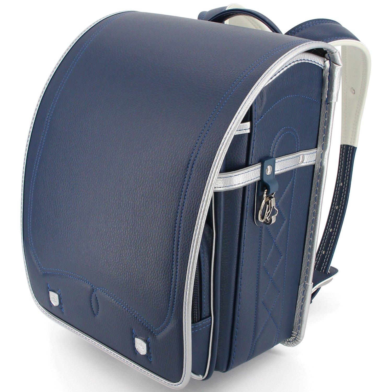 たくさんの改良を加えて ランドセル 男の子 特典多数 高級合皮 大容量 ワンタッチロック 軽量 japanese schoolbag A4フラットファイル対応 小学生通学鞄 6年間保証付き シンプル ブッラク (ライチ ブルー) B07BSZVZWY ライチ ブルー ライチ ブルー