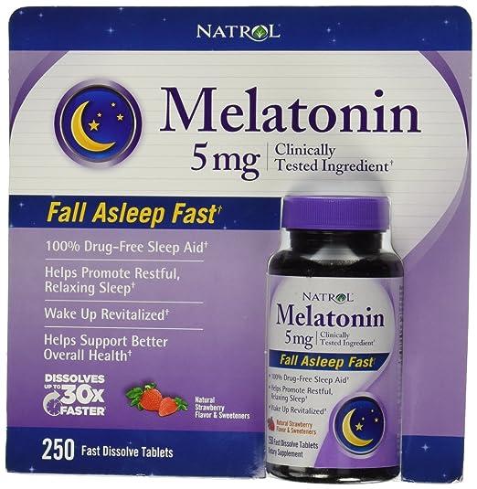 Melatonin 5 Mg Strawberry Flavor 250 Fast Dissolve Tablets (Two Bottles each of 250 Fast Dissolve Tablets) by Natrol: Health & Personal Care