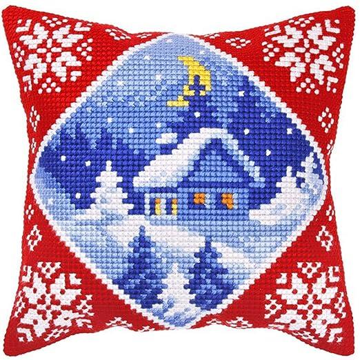 Cottage de calcetines de Navidad Kit de punto de cruz para ...