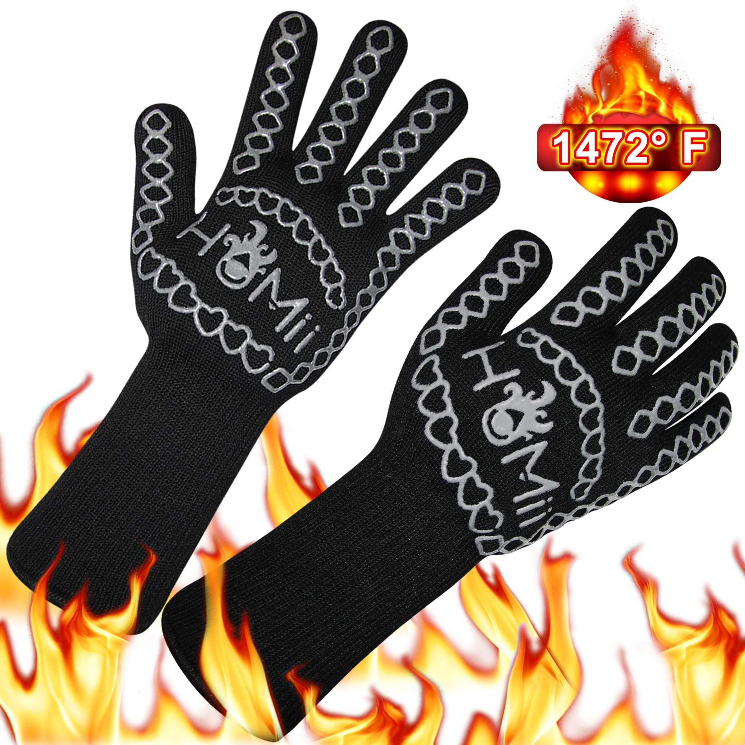HoMii BBQ Gloves 1472℉ Extreme Heat Resistant, Oven Silicone Glove Kitchen Oven Mitts Grilling Glove for Cooking, Kitchen, Baking, Fireplace, Grilling, 1 Pair (13 Inch) (1-Black) by HoMii