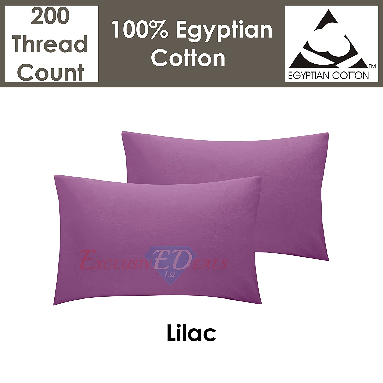 2 x Cotton Pillow Cases Pair TC 200 Cover Housewife Quality Thread Count Luxury