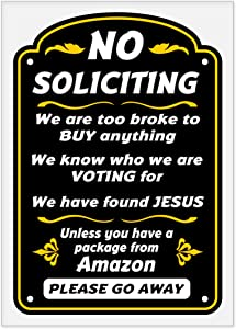 "Funny No Soliciting Sign - Static Cling Sticker - 5"" x 7"""