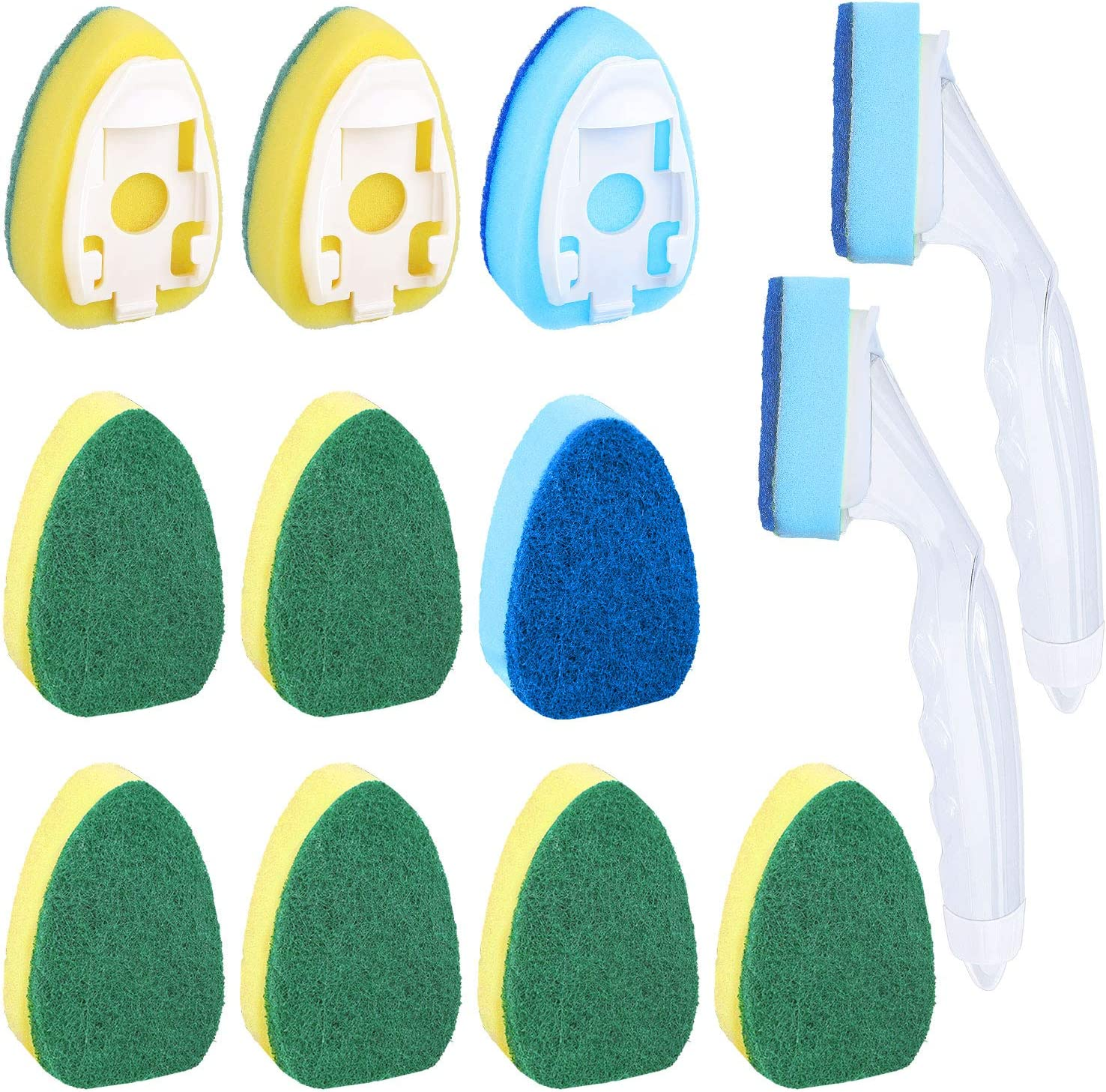 14 Pieces Dish Wand Sponge Set, 2 Pieces Soap Control Dish Wand Refillable Dish Washing Handles 12 Pieces Replacement Head Sponge Non-Scratch Cleaning Sponge for Kitchen Sink Dish Cleaning
