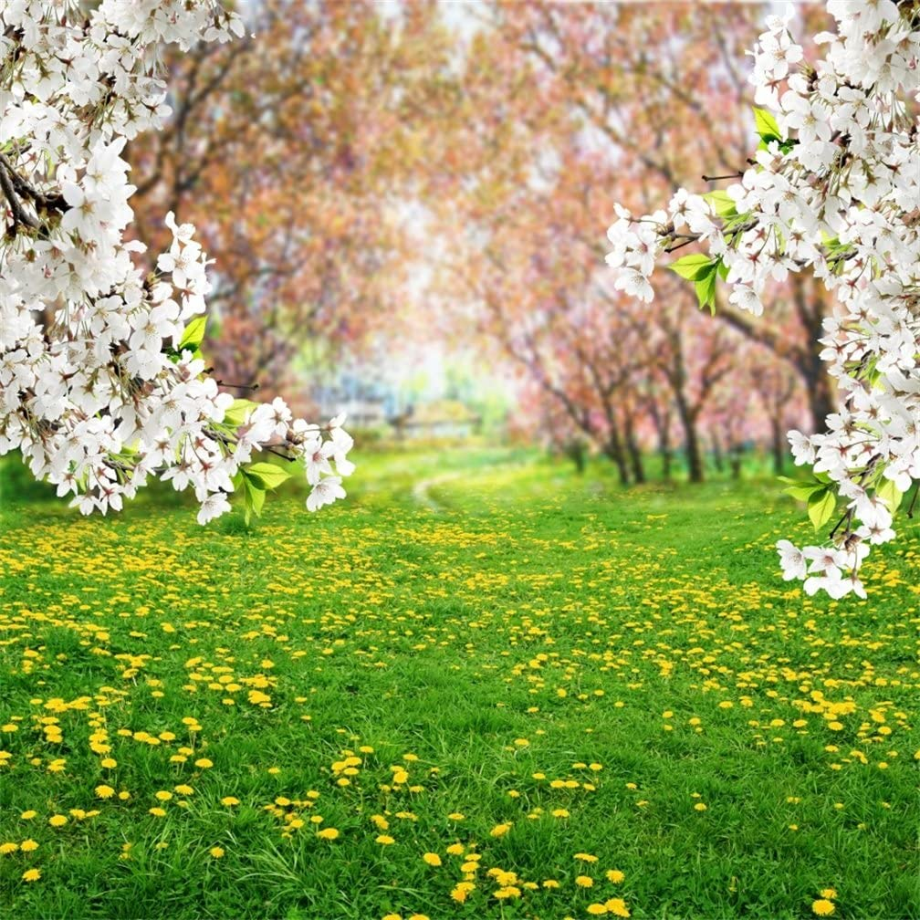 AOFOTO 10x10ft Spring Scenic Backdrop Sweet Flowers Photography Background Meadow Floral Blossoms Garden Florets Grassland Park Trees Kid Baby Portrait Photo Shoot Studio Props Video Wallpaper Drape
