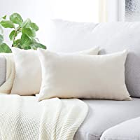 Top Finel Decorative Throw Pillow Covers for Couch Bed Soft Chenille Solid Cushion Covers, Pack of 6