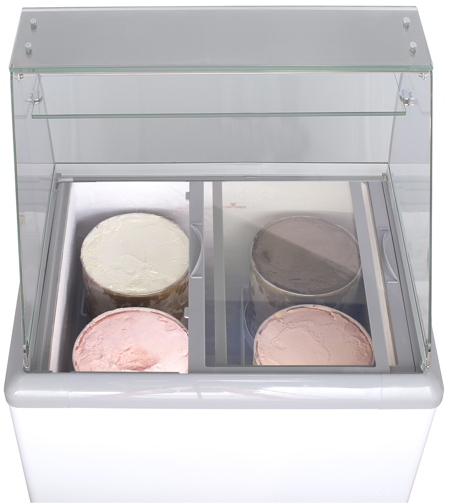 Chef's Exclusive Commercial Frost Free Ice Cream Dipping Cabinet Case Sub Zero Freezer Glass Canopy 7.5 Cubic Feet With…