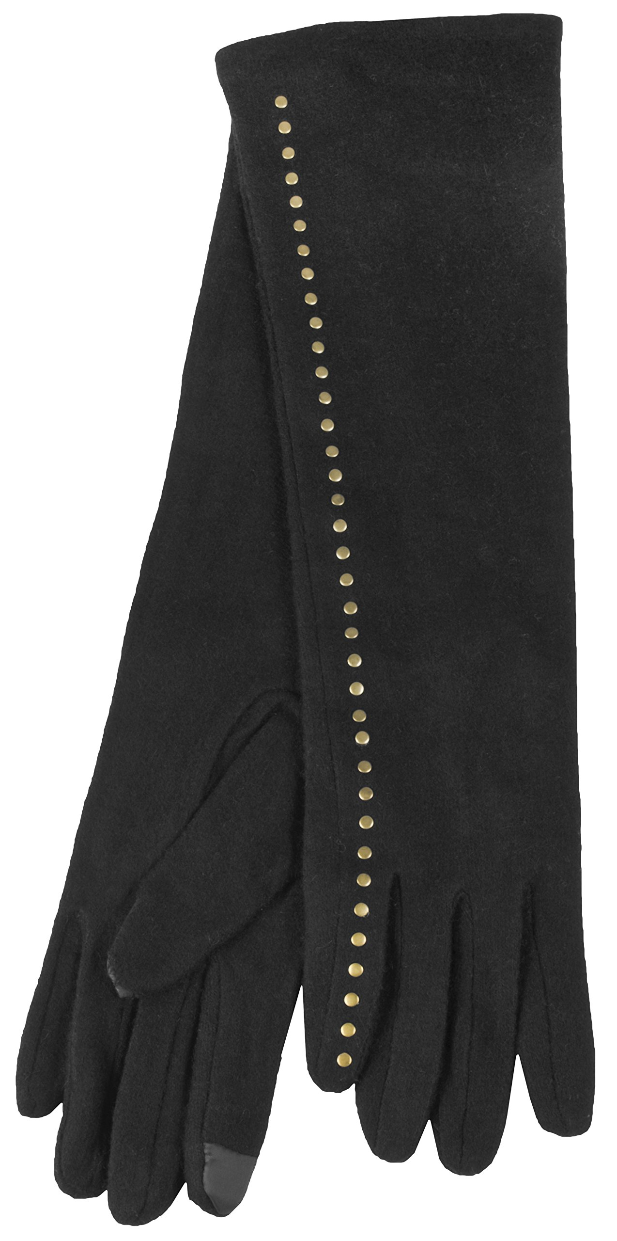 True Gear North Long Full Length Wool Women's Winter Gloves works with Touch Screens (Black)