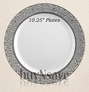 buyNsave White with Silver Heavyweight Plastic Elegant Disposable Plates Wedding Party Elegant Dinnerware Inspiration  sc 1 st  Amazon.com & Amazon.com: Masterpiece \