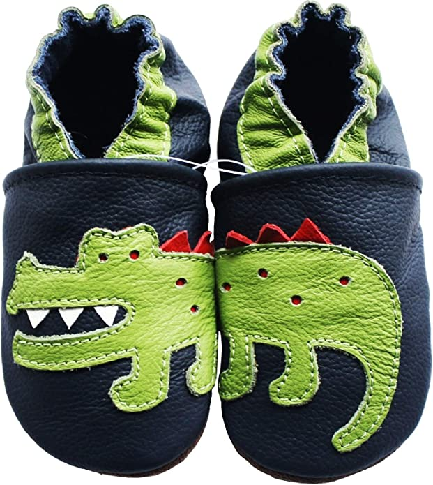 carozoo crocodile cream 12-18m C1 soft sole leather baby shoes slippers