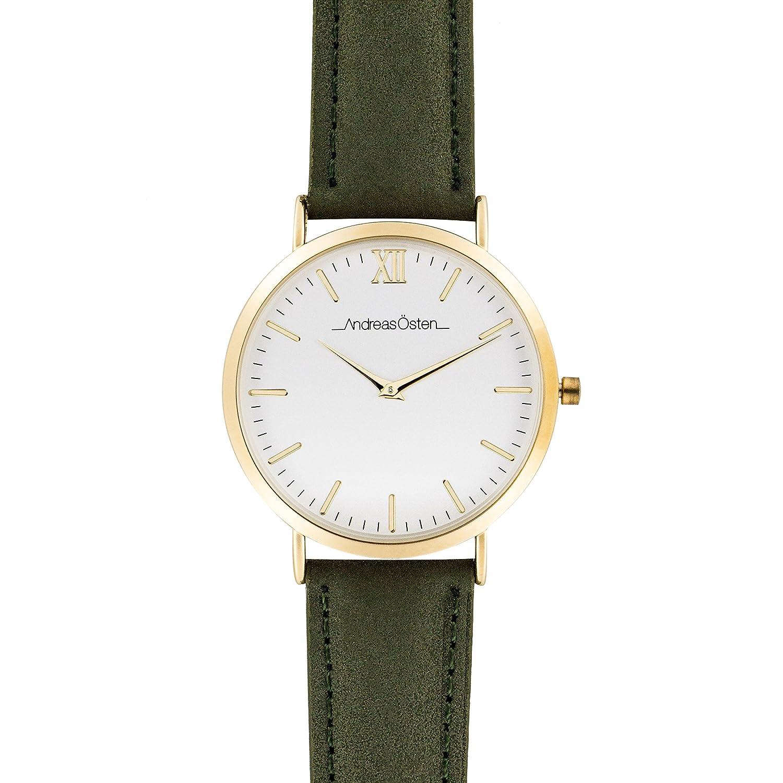Andreas Osten (Oste) Damen Gold LÜnette Olive Lederband Armbanduhr A0–112