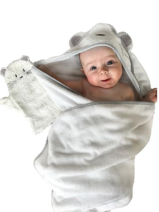 Manopla con capucha y toalla de bambú para bebé blanco White/Grey