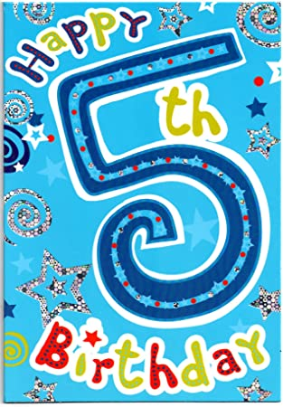 Childrens Birthday Card For Five 5 Year Old Boy