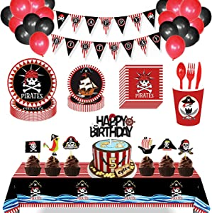 JHkim Pirate Party Supplies - Pirate Decorations (157PCS Serves 16), Incluedes Paper Plates, Balloons, Happy Birthday Banner, Napkins, Cups, Tablecloth, Flatware, Cupcake Toppers, Pirate Themed Birthday Decorations