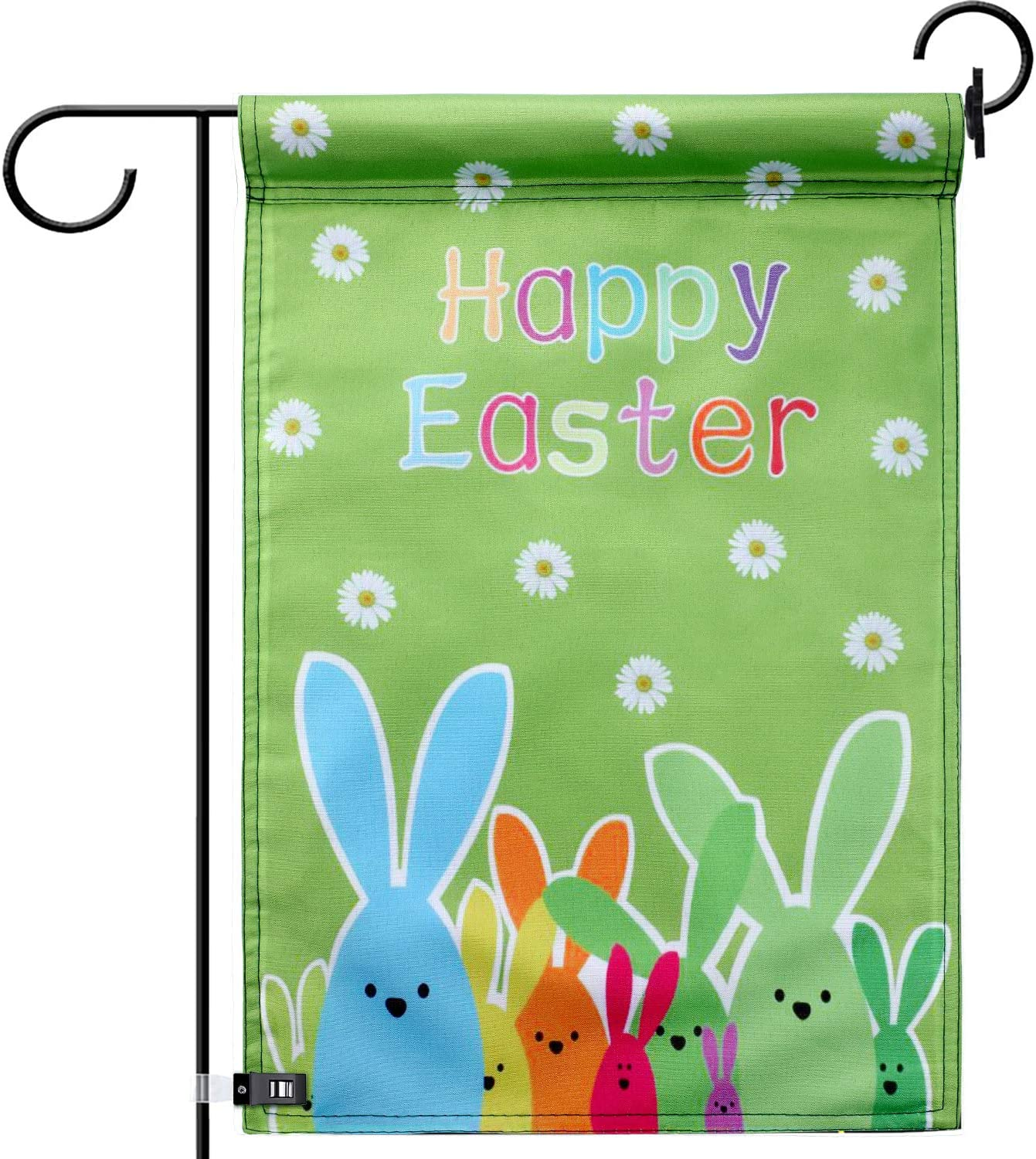 TecUnite Easter Eggs Garden Flag Rabbit Flowers Bunny Spring Basket for Easter Home Door Outdoors Party Decorations 12 by 18 Inch (Style 4)