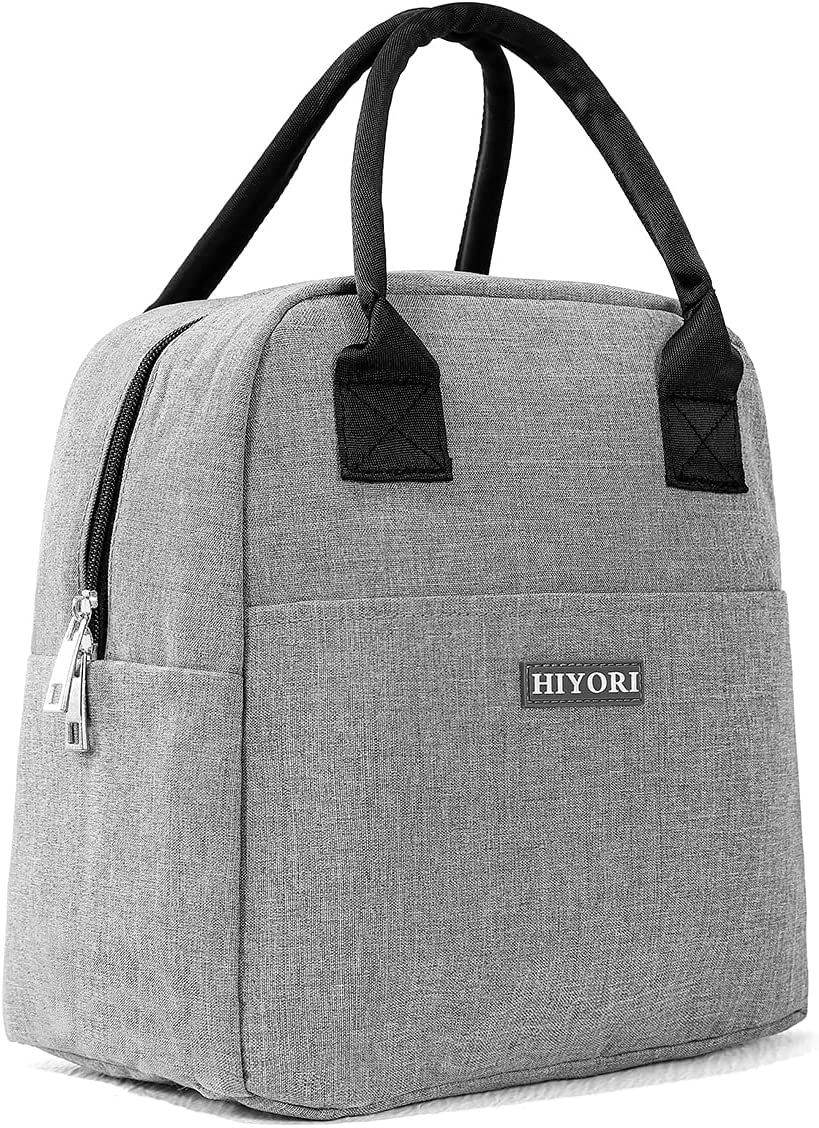 HIYORI Reusable Lunch Bags for Women Leakproof Insulated Lunch Box Women Lunch Tote Bag Cooler Bag Container Lunch Pail Bags for Work Picnic Sports School (Gray)