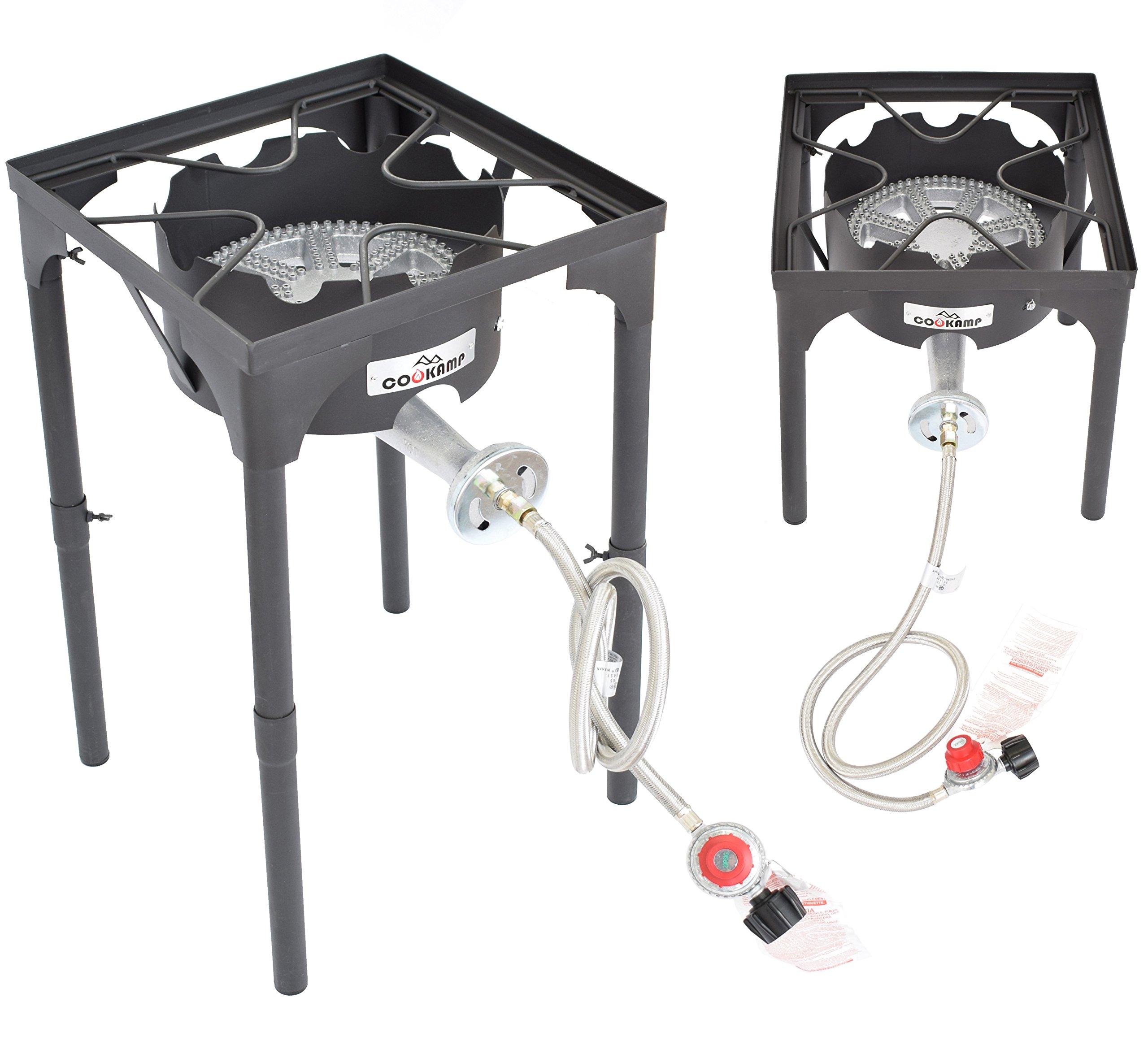 COOKAMP High Pressure Banjo 1-Burner Outdoor Camp Stove with Adjustable Height. 0-20 PSI Adjustable Regulator and Steel Braided Hose [ 2018 New Model ] SA1550