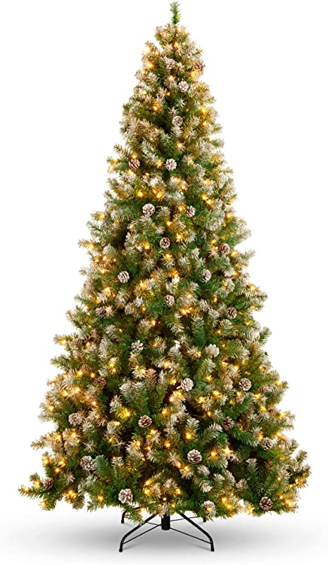 Amazon Com Best Choice Products 7 5ft Pre Lit Pre Decorated Pine Hinged Artificial Christmas Tree W 1 346 Flocked Frosted Tips 80 Pine Cones 550 Lights Metal Base Home Kitchen