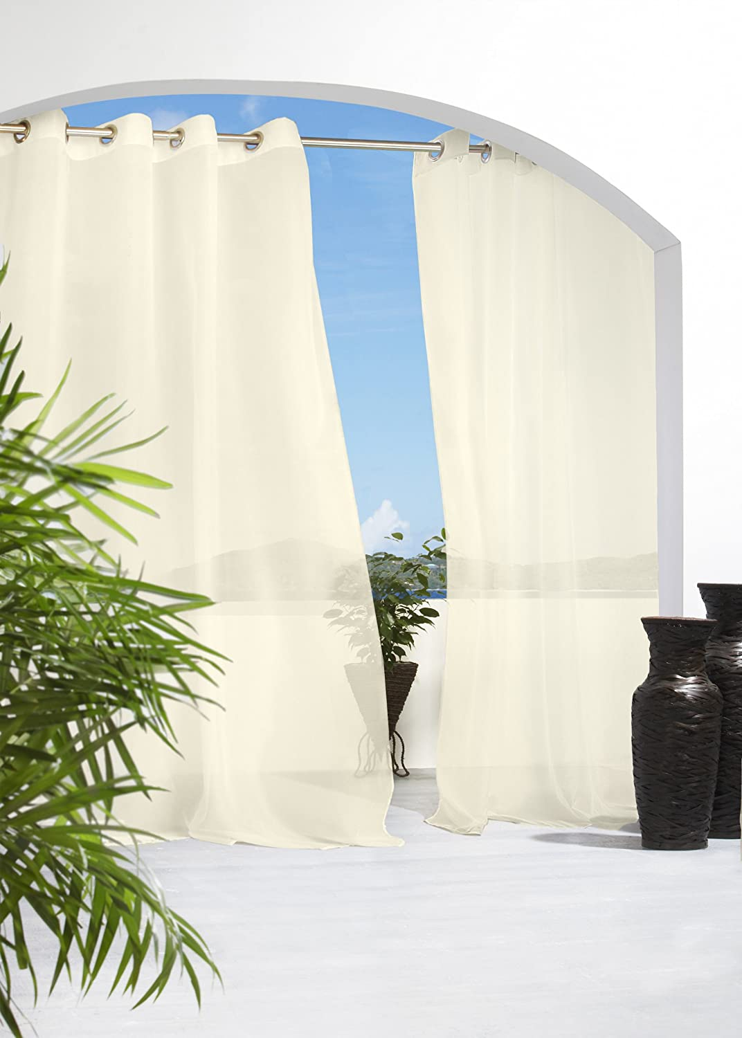 Amazon.com: Outdoor Decor Escape 54 By 108 Inch Voile Grommet Top Panel,  Ivory: Home U0026 Kitchen