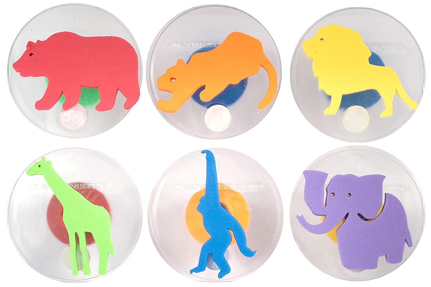 READY 2 LEARN Giant Stampers - Wild Animals - Set of 6 - Easy to Hold Foam Stamps for Kids - Arts and Crafts Stamps for Displays, Posters, Signs and DIY Projects, Clear, Model: CE6769