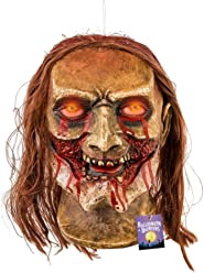 Halloween Haunters Life-Size Hanging Animated Decapitated Zombie Ghoul Head with Moving Jaw Mouth That Screams Prop Decoration - Rubber Latex Flashing Eyes - Table Top Haunted House Graveyard Display