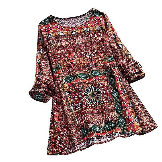 Longra ✓Las mujeres Boho estilo Floral impreso mangas largas de la túnica del oscilación Tops