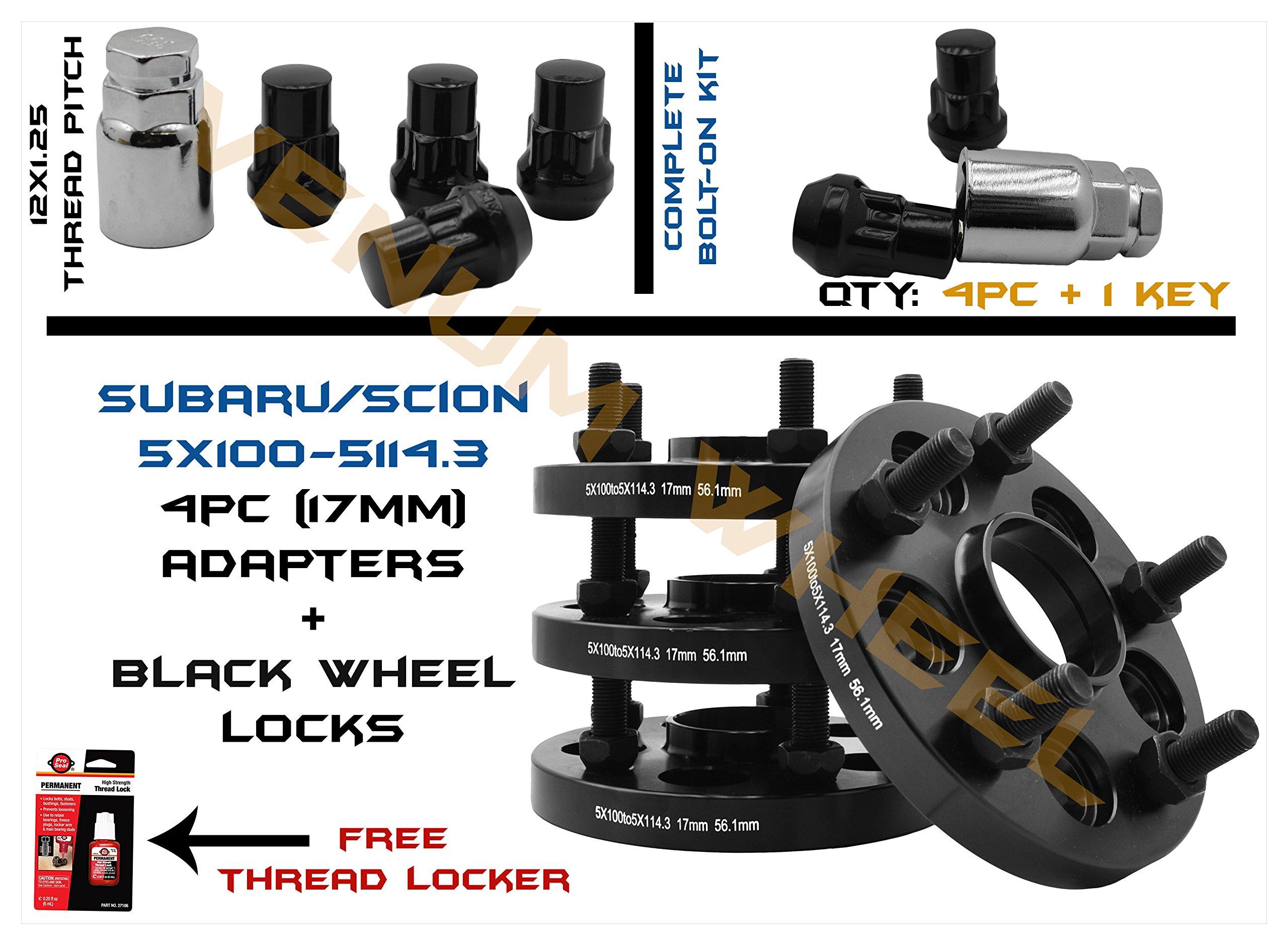 4pc 5x100 to 5x114.3 17mm Subaru Conversion Adapter 56.1mm Hub Centric | Includes 4 Black Wheel Locks & 1 Key
