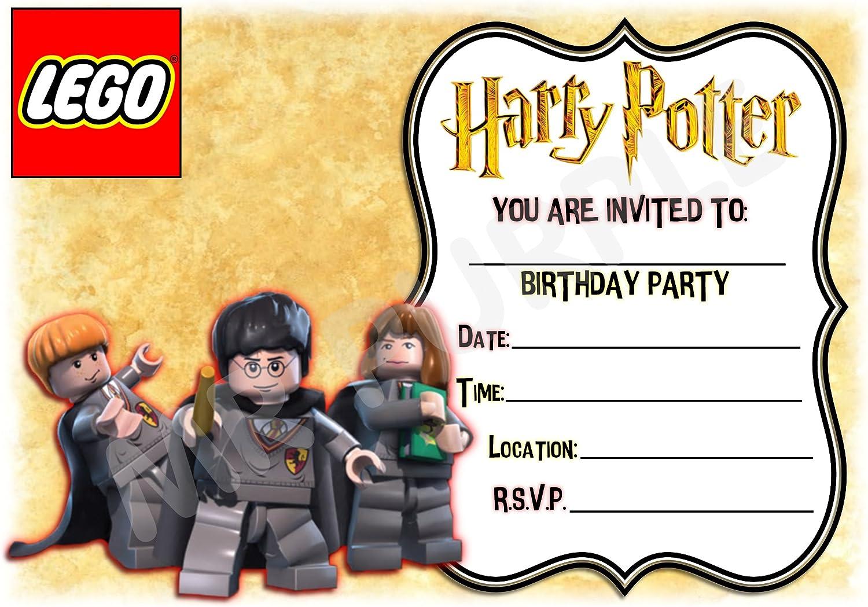 Harry Potter Birthday – invitaciones para fiestas – Lego diseño de marco accesorios de fiesta/accesorios (Pack de 12 invitaciones A5) WITH Envelopes: Amazon.es: Oficina y papelería