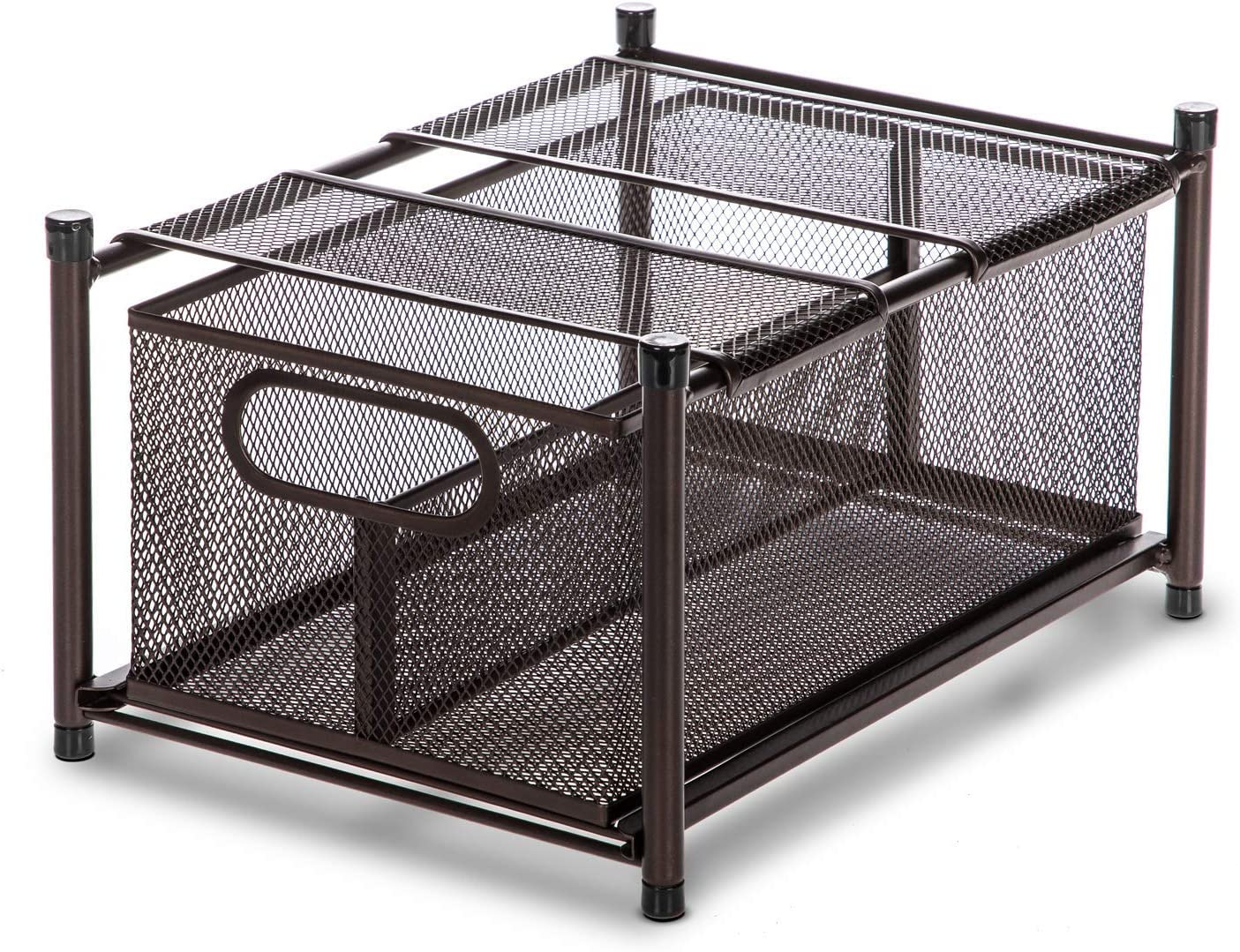 Home Zone Living Tabletop Kitchen Basket Organizer, Pull Out Shelf, Vertical Storage (Oil-Rubbed Bronze)