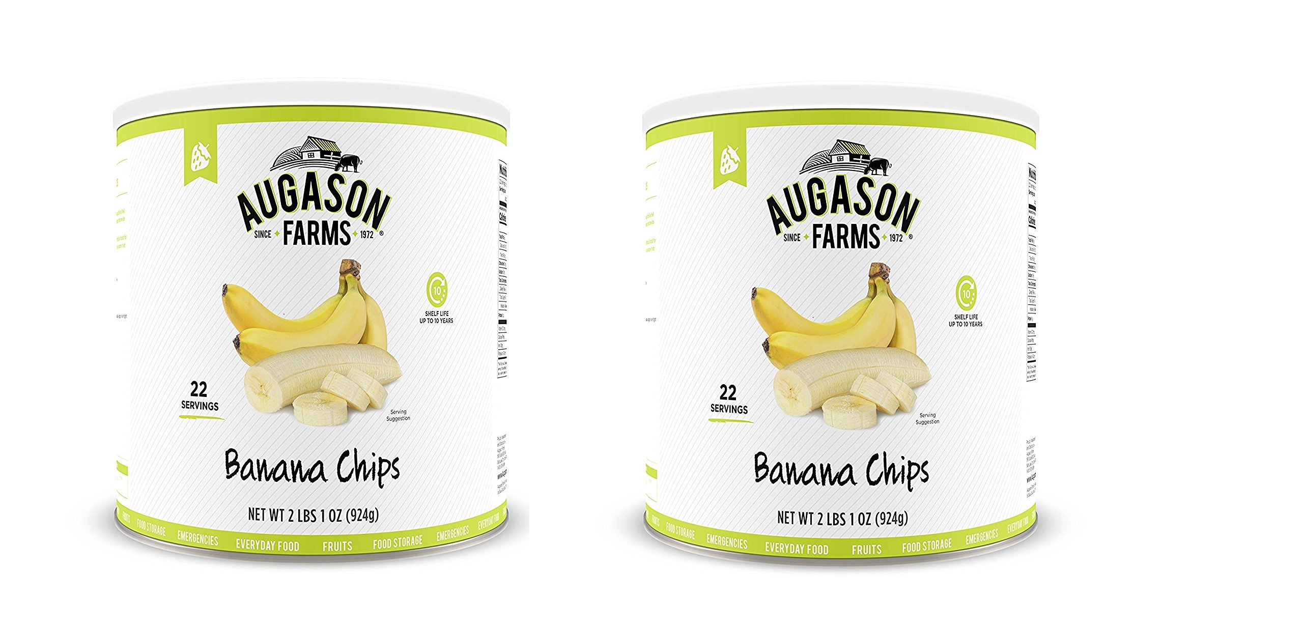 Augason Farms Banana Chips 2 lbs 1 oz No. 10 Can (2 bottles)