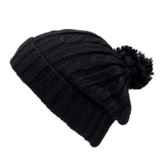 b8f0f128164 THE HAT DEPOT 700WH-U2 Solid Color Ribbed Beanie with Pom Pom (Black ...