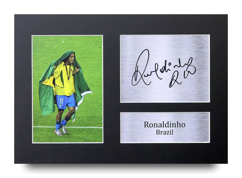 HWC Trading Ronaldinho Geschenke Unterzeichneten A4 Gedrucktes Autogramm Brazil Foto-Anzeige