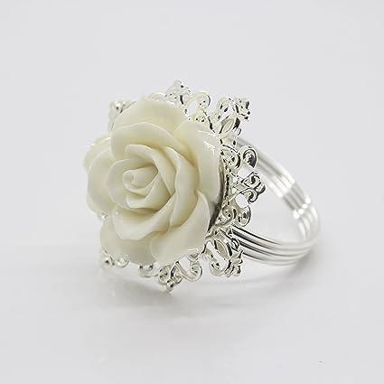 14f03c229c Amazon.com: AngHui ShiPin 10pcs White Rose Decorative Silver Napkin ...