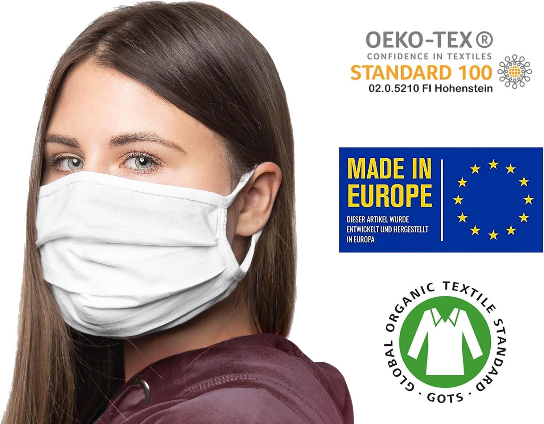 3er-Pack Mundschutz waschbar aus 100/% Bio-Baumwolle Oeko-TEX 100 Standard Earloop-Design Wiederverwendbare Behelfs-Abdeckung f/ür Mund Nase nachhaltig