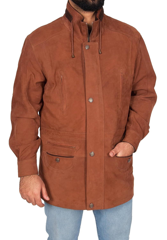 Gentlemens Real Nubuck Leather Classic Parka Jacket Tan//Brown Trim 3//4 Long Car Coat Henry