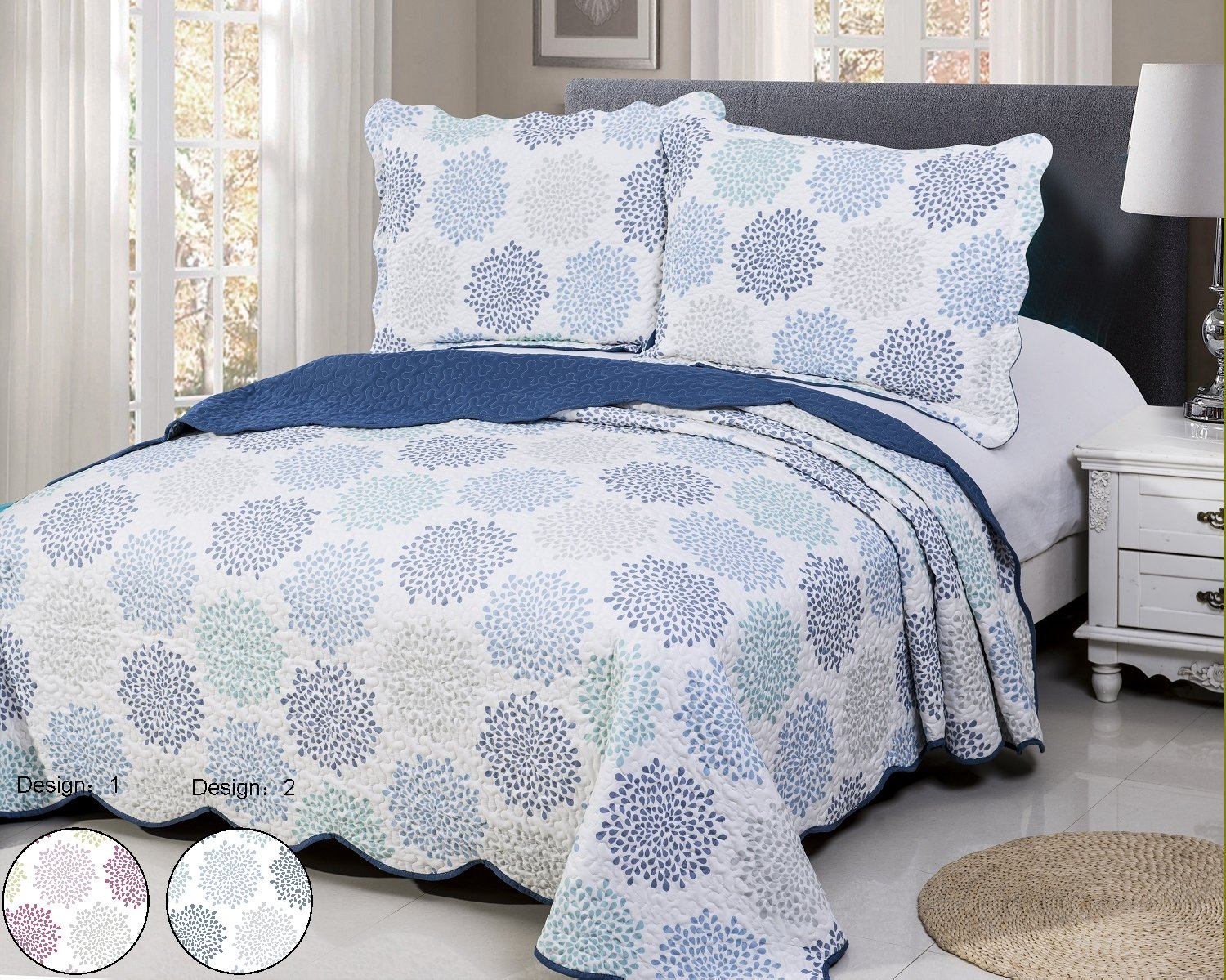 vivinna home textile Disperse Printing Quilt Set Queen/Full Size(90''x90'' BLUE FLORENCIA) 3-Piece Bedspread Soft All-Season Luxury Microfiber Reversible Bedspread and Coverlet.