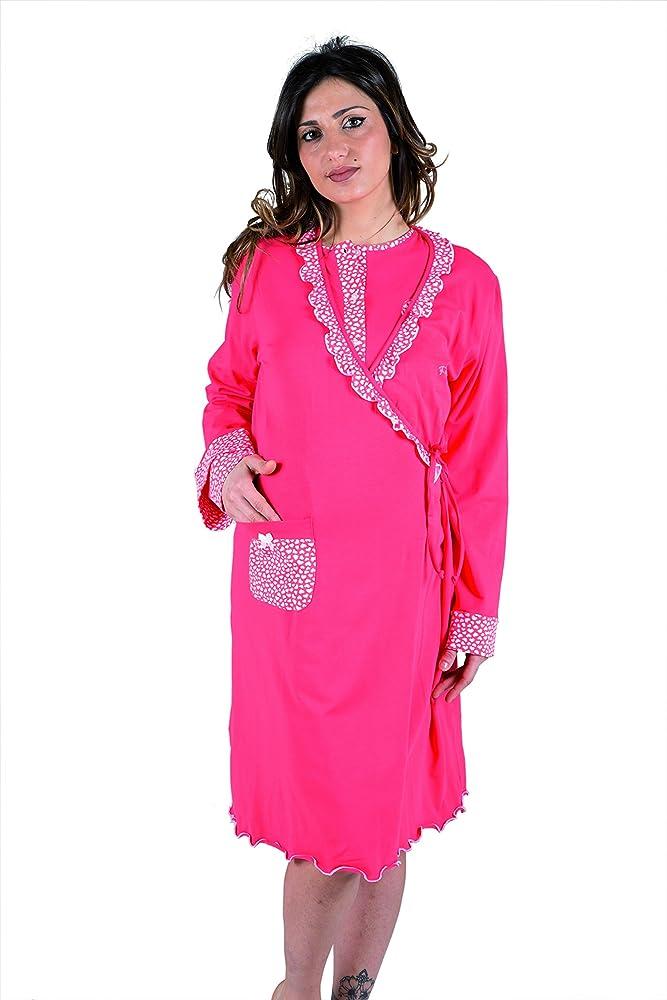 Premamy - Bata para Maternidad, Modelo de Frente Abierto, algodón elástico de Dos vías, pre-Post-Parto - Rojo - III (S): Amazon.es: Ropa y accesorios