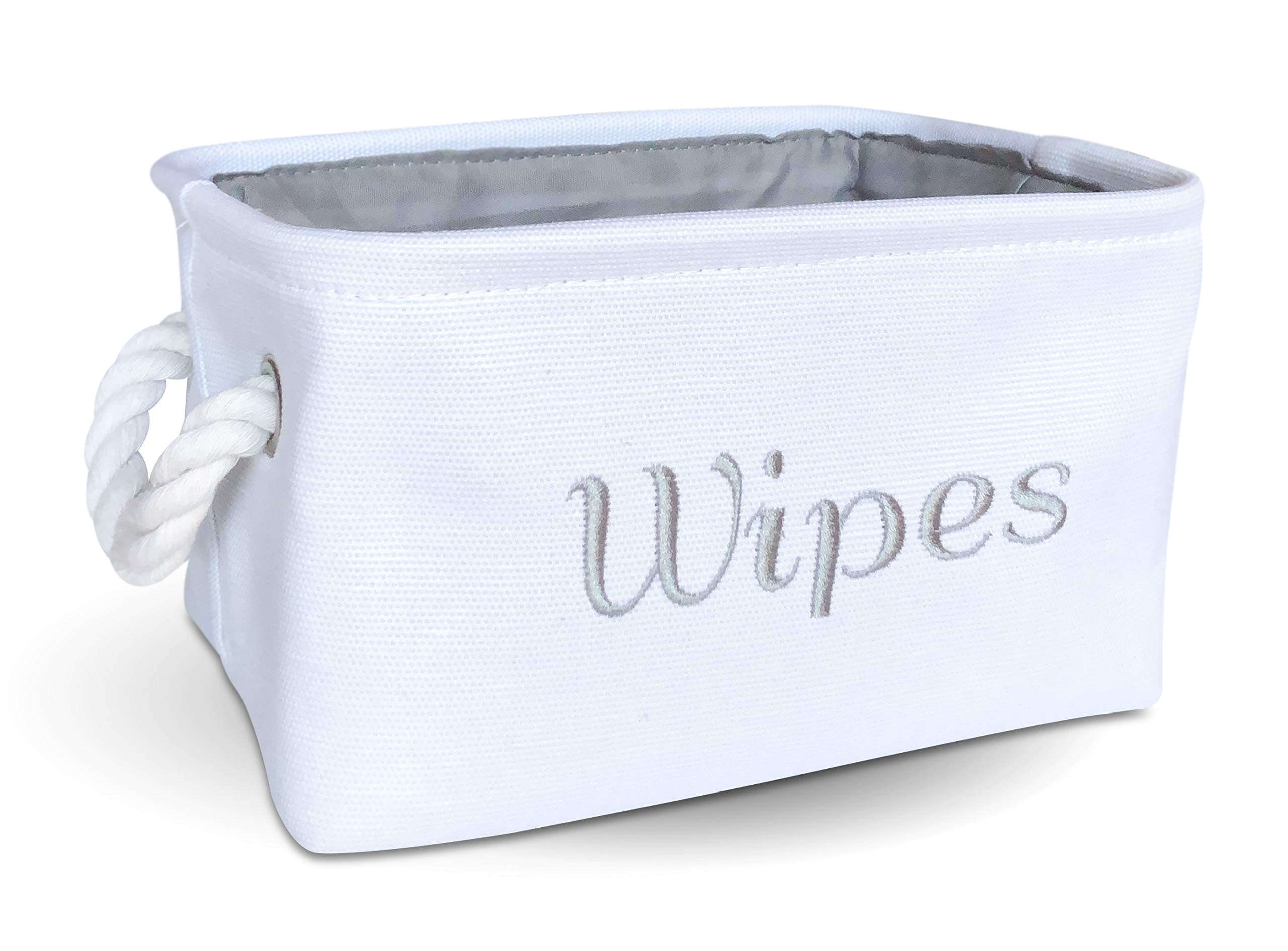 Wipe Holder, Storage & Organizer Bin for Nursery, Baby boy or Girl. White Canvas Fabric Decorative Basket with Gray Embroidering. by APPLE PIE ORDER