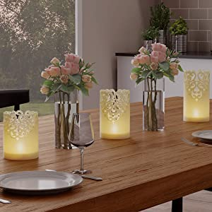 Lavish Home LED Candles with Remote Control-Set of 3 Lace Detailed Vanilla Scented Wax, Realistic Flameless Pillar Lights-Ambient Home Décor