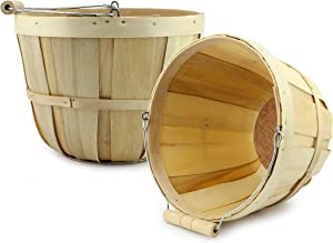 Cornucopia Brands Round Wooden Baskets (2-Pack, Natural); Wood Fruit Buckets with Handle, 4-Quart Capacity; 6.1 Inch Tall by 8 Inch Diameter