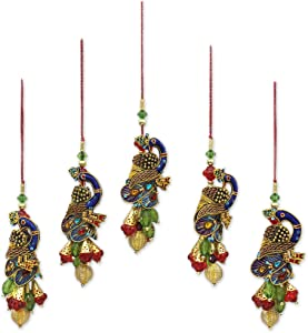 NOVICA Hand Multi-Color Mughal Peacocks' (Set of 5) Beaded Ornaments