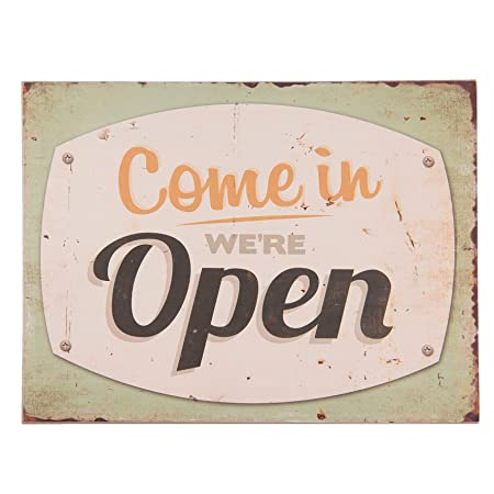 C & S Vintage Retro Cartel de Madera MDF, Come In were Open ...