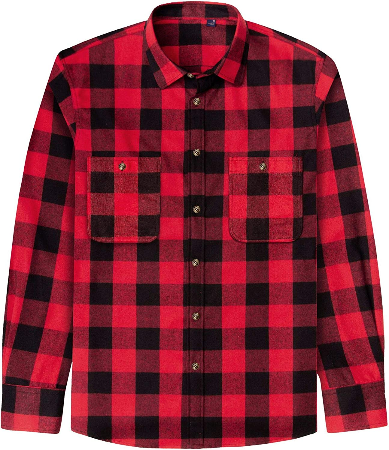 J.VER Men's Flannel Plaid Shirts Long Sleeve Regular Fit Button Down Casual Shirt for Boys: Clothing