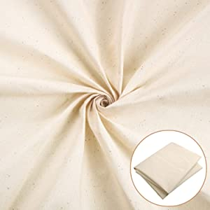 Muslin Fabric 63 Inch Wide Natural Cotton Fabric Unbleached Stitch Cloth for Making Garments Crafts, Sold by The Yard