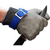 Stainless Steel Wire Metal Mesh Cut Proof Butcher Safety Work Gloves, High Performance for Cutting Protection, Meat Cutting (Large)