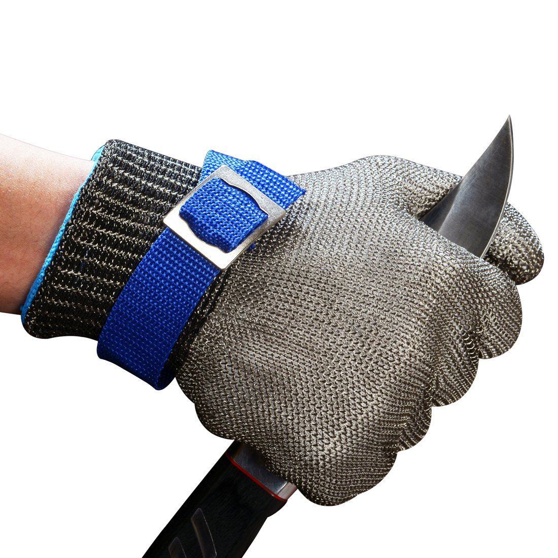 Schwer Cut Resistant Gloves-Stainless Steel Wire Metal Mesh Butcher Safety Work Gloves for Meat Cutting, fishing (Large)