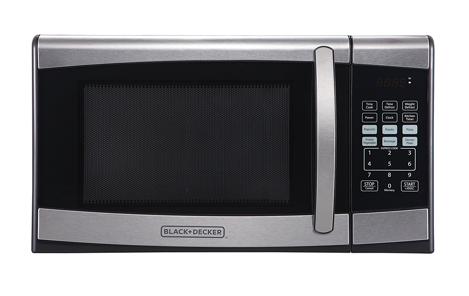 BLACK+DECKER EM925AZE-P 0.9 Cubic Foot 900 Watt Stainless Steel Microwave with Turntable, Medium, Silver